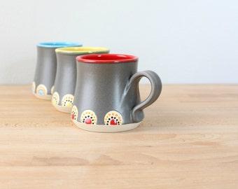 Ceramic Coffee Mug, Stoneware Coffee Cup, Handmade Pottery Mug, Modern Coffee Cup, Coffee Mug with Dots, Colorful Coffee Cup