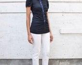 Vintage Prada 1990's Ruched Minimalist Silk Satin Trim Oxford Button Up Tunic Shirt S