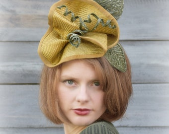Flower Fascinator Hat - Goldenrod