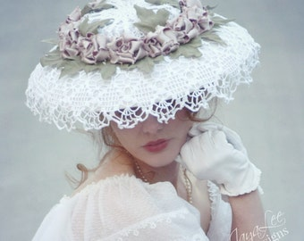 Victorian Rose Wide Brim Straw Hat, Lace Wedding Hat, Edwardian Bridal Hat, Picture Hat, Derby Hat, Tea Party