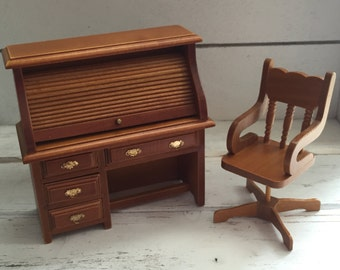 Miniature Roll Top Desk and Swivel Chair Set, Wood Dollhouse Office Furniture, Dollhouse Miniatures, 1:12 Scale, Office Decor, Work Des