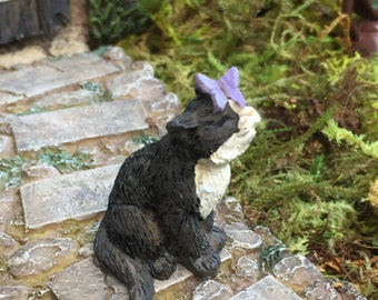 Miniature Black And White Cat With Butterfly Figurine, Fairy Garden  Accessory, Home And Garden
