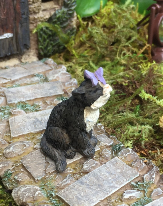 Miniature Black and White Cat with Butterfly Figurine, Fairy Garden Accessory, Home and Garden Decor, Cake Topper, Embellishment
