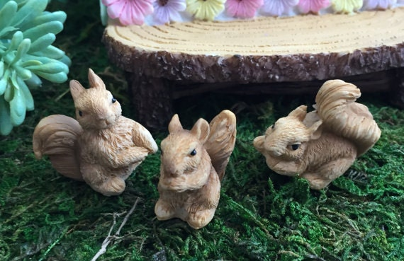 Mini Squirrels, Mini Squirrel Figurines, 3 Piece Set,  Fairy Garden Accessory, Miniature Gardening, Home & Garden Decor, Topper, Sitter