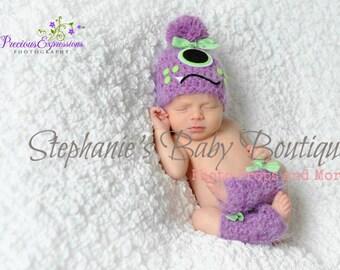 Crochet Newborn Baby Girl Purple One-Eye Monster Hat & Legwarmer Set, Made-to-Order, Photo Photography Prop Baby Shower Gift, Halloween