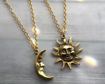 Sun and Moon friendship best friend soul mate necklaces