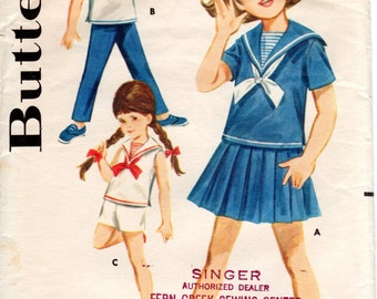 1960s Girls Middy Sailor Blouse Skirt Shorts Pants - Vintage Pattern Butterick 2760 - Size 8 Nautical