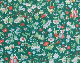 "Vintage Fabric - Tiny Village Print on Green - 5 1/2 yards x 46"" wide"