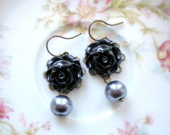 Pearl Dangle Earrings Black Rose Earrings Flower Earrings Drop Pearl Earrings Floral Earrings  Romantic Jewelry Flower Dangle Earrings