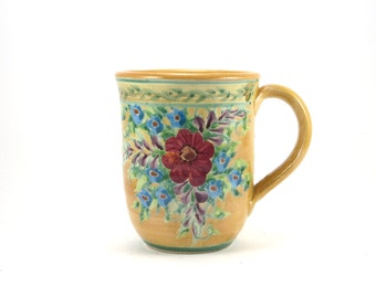 Unique Coffee Mug - Yellow Porcelain Tea Cup - Perfect for Floral Home Design - Handmade and Hand Painted