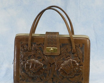 Vintage 50s 60s Large Mexican Hand Tooled Leather Purse Handbag, Tobacco Brown