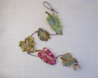 Ceramic Vegetable Leaves Wall Hanging - Made with 5 Real Leaves - Decorative String - Leaf Impressions - Spinach Bean Squash Beet Cucumber
