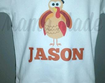 Personalized Boy's Pilgrim Turkey Shirt or Bodysuit Turkey Shirt Boy's Thanksgiving Turkey Shirt Boy Turkey