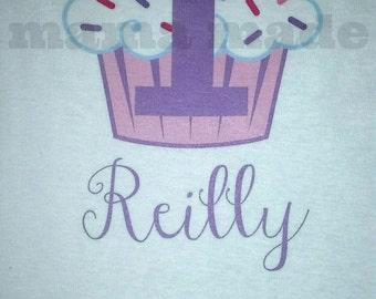 Girls Birthday Shirt, Cupcake Birthday Shirt, Cupcake Birthday Party, Pink Cupcake Shirt, Pink and Purple Cupcake Shirt, Girls Cupcake shirt