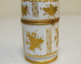 """Vintage LIMOGES France Gold Painted Cylinder Trinket Hinged Box 4"""" Signed AJC"""