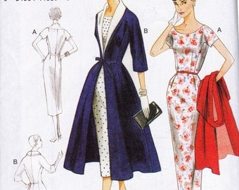 Vogue V 8875 Sheath Dress and Flared Coat 1955 Re issue Sewing Pattern Size 8 - 16 Bust 31 1/2 - 38 inches UNCUT Factory Folded