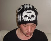 Synyster Gates Knit Hat Men Hat in Black and White skull knit beret beanie hat hand knit hat