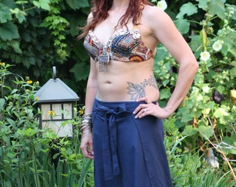 Blue Tie, silly, Jedi inspired, pirate pants, one size Italian Linen, bellydance, SCA, Cosplay