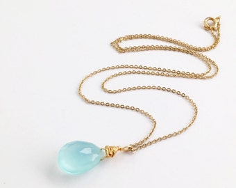 Chalcedony Necklace, Light Blue Gemstone Necklace