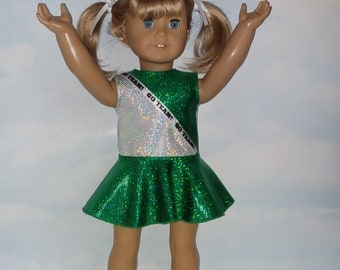 18 inch doll clothes -  Green and Silver Cheerleader Handmade to fit the American girl doll