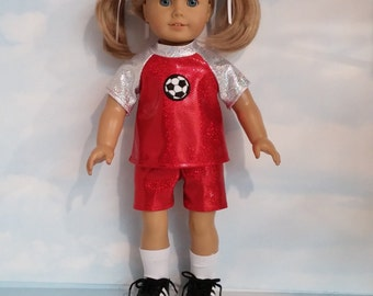 18 inch doll clothes - Red Soccer Outfit made to fit the American girl doll - FREE SHIPPING