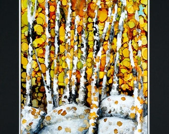Original Aspen in fall painting with double mat ready to frame 22 x 28 inches.