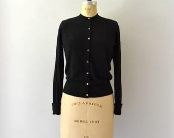 1950s Vintage Sweater - 50s Black Cashmere Cardigan