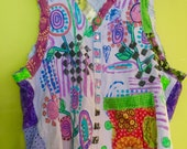 Sale Lavender hand painted stenciled reconstructed upcycled garden vest fits XL to 4x