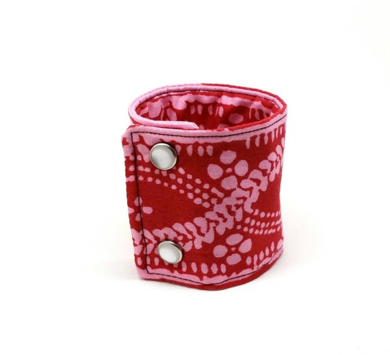 Fabric Cuff Bracelet Adjustable Wide Band Boho Hippie - Bold Red and Pink Batik
