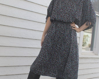 Casual Black Print Dress Dolman Vintage 80s Shirtdress S