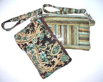 Quilted Paisley or Stripe Wristlet,Your Choice of Zippered Clutch,Phone Pocket, ID Section,Dollar Bill Zippered Compartment,Multiple Pockets