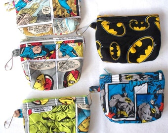 Marvel Comics Quilted Coin Purse,Your Choice of Batman Comic Strip, Batman Emblem,Incredible Hulk,Captain America,Spiderman,Iron Man