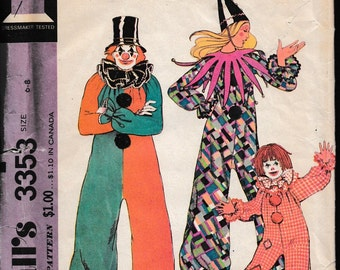 McCall's 3353 Boy's and Girls Clown Costume