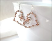 Silver Heart Earrings, Copper, Wire Wrapped, Valentines Day, Sweetheart, Love, Silver and Copper, Hammered,  883