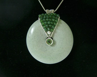 Green Jasper Donut Pendant, Celadon Green, Green Apatite Gemstone, Sterling Silver Wire Wrapped 944