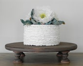 "18"" Rustic Wedding Cake Stand Cupcake Stand Round Rustic Country Wooden Grooms Cake E. Isabella Designs Featured In Martha Stewart Weddings"