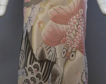 90s 2000s LEONARD PARIS chiffon silk floral butterfly koi fish japanese antique kimono print print bias cut midi skirt vintage 10