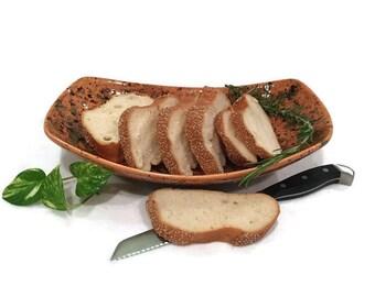 Fruit Basket Bread Basket - Centerpiece Bowl - Amber and Green