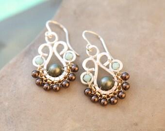 Succulent Earrings in Neutral Tones