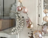 CUSTOM ORDER for Cindy - moon and stars baroque pearl necklace