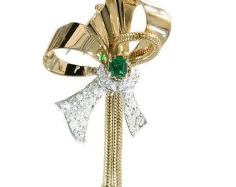 ON SALE French Retro bow brooch 18k rose gold 3.30ct diamonds top quality emerald