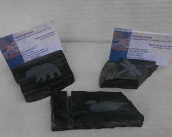 Business Card Holder of Taconite with a Sandblasted Image