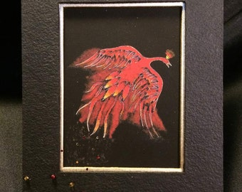 """Creature of Fire Firebird ACEO mini print hand-altered double-matted to 4""""x5"""""""