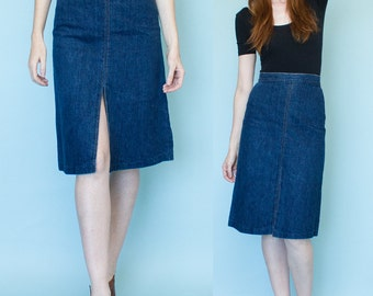 1970s High Waist Split Front Back Denim Skirt Size S-M