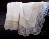 IVORY CHRISTENING Blanket Vintage Lace Trim Baby Girl Boy Luxurious Heirloom Baptism Cream Off White Rayon Stretch Knit Large Newborn Lacey