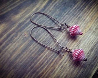 Candy Striper Earrings // Red & White Striped Bead Earrings // Antiqued Copper // Vintage Lucite Beads // Carnival Style // Fun and Retro