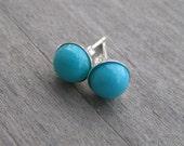 Turquoise Stud Earrings, Sleeping Beauty, Sterling Silver Post, 6 mm, December Birthstone, Small Classic Turquoise Earrings, Bezel Set