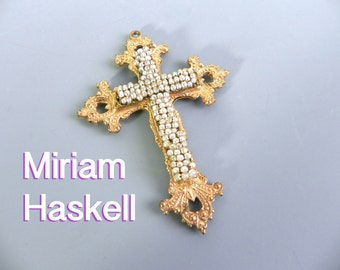 Vintage Mirium Haskell Cross , Baroque Pearls , Signed Haskell