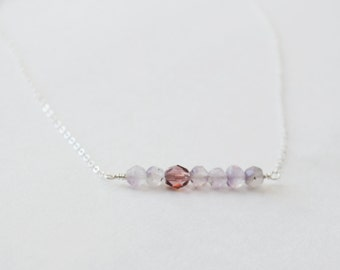 Amethyst Necklace February Birthstone Sterling Silver Necklace Plum Lavender Purple Glass Gemstone Necklace Boho Chic Hipster Necklace Girls