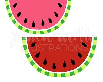 Watermelon Cute Digital Clipart, Cute Watermelon Clip art, Watermelon Fruit Graphics, Pink and Red Watermelon Illustration, #098